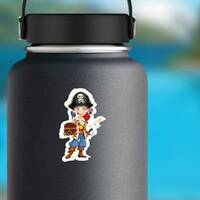 Cute Pirate Boy With Red Parrot Sticker on a Water Bottle example