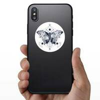 Butterfly Double Exposure Hippie Sticker on a Phone example