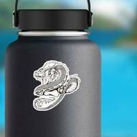 Asian Woman and Dragon Sticker on a Water Bottle example