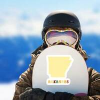 Map Of Arkansas With Cute Lettering Sticker on a Snowboard example