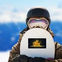 Golden Bullish Trend Bitcoin Sticker on a Snowboard example