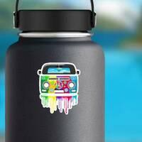Hippie Van Dripping Rainbow Paint Sticker on a Water Bottle example