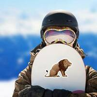 Profile Of Sitting Lion Sticker on a Snowboard example