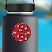 Cute Ferret Red Wallpaper Pattern Sticker