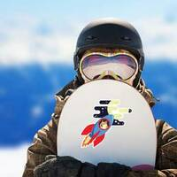 Dogecoin to the Moon Sticker on a Snowboard example