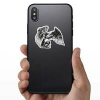 Eagle And Skull Sticker on a Phone example