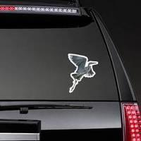 Grey Heron Crane Flying Isolated On White Background Sticker example