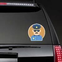 Policeman Flat Illustration Sticker on a Rear Car Window example