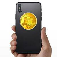Gold Once Cent Coin Sticker on a Phone example