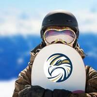 Circle Eagle Logo Sticker on a Snowboard example