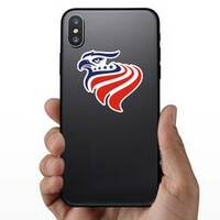 Red, White and Blue Patriotic American Eagle Head Sticker on a Phone example