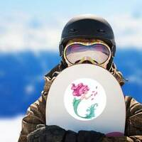 Beautiful Mermaid with Pink Hair and Fish Sticker on a Snowboard example