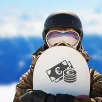 Euro Money Sticker on a Snowboard example