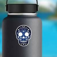 Decorative Ornamental Sugar Skull Silhouette Sticker on a Water Bottle example