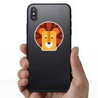 Cute Kids Lion Head Sticker on a Phone example