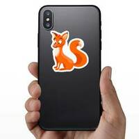 Surprised Cartoon Fox Sticker on a Phone example