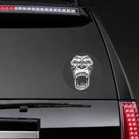 Face Of Gorilla Isolated On Black Sticker