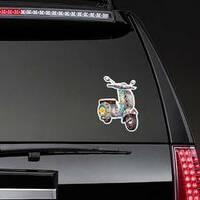 Hippie Zentangle Style Scooter Sticker on a Rear Car Window example