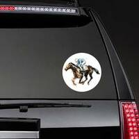 Watercolor Derby Horse Sticker on a Rear Car Window example