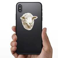 Antique Drawing Illustration Of Sheep Head Sticker