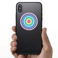 Colorful Hippie Mandala Sticker on a Phone example