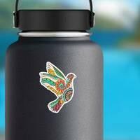 Zentangle Bird Hippie Sticker on a Water Bottle example