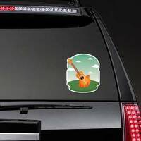 Guitar With Flowers Hippie Culture Sticker on a Rear Car Window example