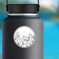 Artistically Drawn California Poppy Sticker on a Water Bottle example