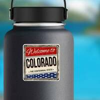 Welcome To Colorado Vintage Sticker on a Water Bottle example