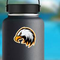 Furious Eagle Mascot Sticker on a Water Bottle example