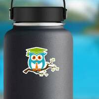 Smart Owl With Tie On A Branch Sticker on a Water Bottle example