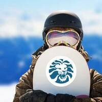 Angry Lion Head Circle Sticker on a Snowboard example