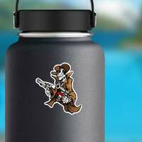 Skeleton Cowboy with Pistols Sticker on a Water Bottle example