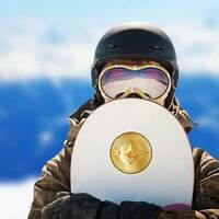 Gold Illustrated Ethereum Crypto Sticker on a Snowboard example
