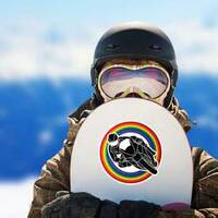 Motorcycle Racing Through Rainbow Sticker on a Snowboard example