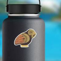 Ancient Greek Owl Sticker on a Water Bottle example