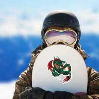 Flying Fire Breathing Dragon With a Sword Sticker on a Snowboard example