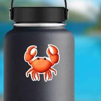Colorful Red Crab Illustration Sticker