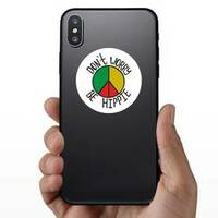 Don't Worry, Be Hippie Rasta Circle Sticker on a Phone example