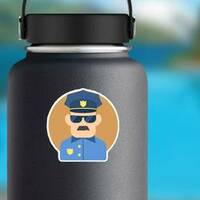 Policeman Flat Illustration Sticker on a Water Bottle example