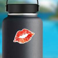 Red Watercolor Kiss Lips Sticker on a Water Bottle example