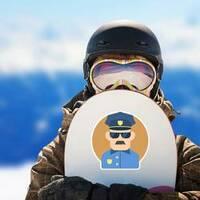 Policeman Flat Illustration Sticker on a Snowboard example