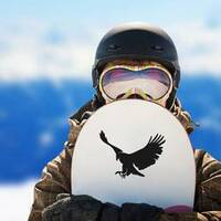 Landing Bald Eagle Silhouette Sticker on a Snowboard example