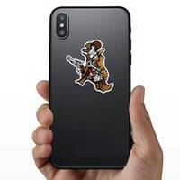 Skeleton Cowboy with Pistols Sticker on a Phone example