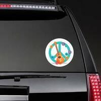Guitar & Flowers Hippie Peace Symbol Sticker on a Rear Car Window example