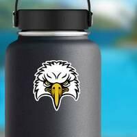 Cartoon Eagle Head Sports Mascot Sticker on a Water Bottle example