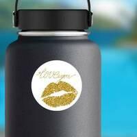 Gold Glitter Lipstick Imprint Of A Kiss Sticker on a Water Bottle example