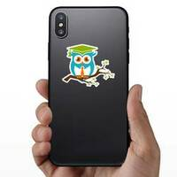 Smart Owl With Tie On A Branch Sticker on a Phone example