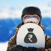 Standard Rupee Money Bag Sticker on a Snowboard example