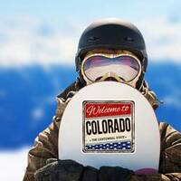 Welcome To Colorado Vintage Sticker on a Snowboard example